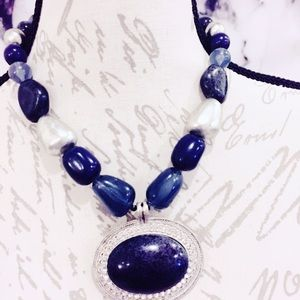 Blue Large Statement Necklace Pewter